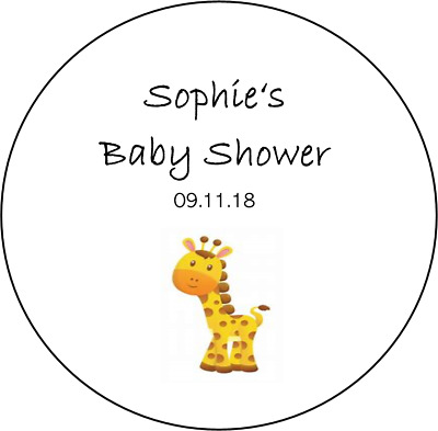 48 personalised baby shower stickers favours girl boy giraffe round circle CUTE