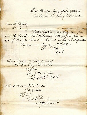 Civil War Orders Appointing Gen Marsena Patrick Provost Marshall Army Of Potomac