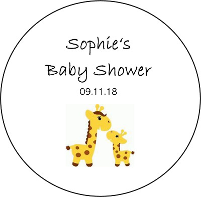48 personalised baby shower stickers favours girl boy round circle giraffe