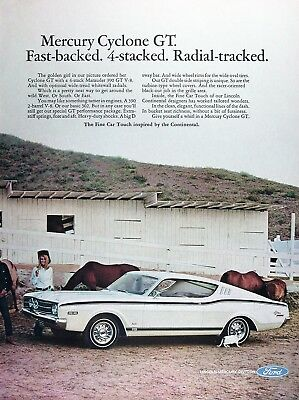 1968 MERCURY CYCLONE GT Genuine Vintage Advertisement ~ 390 2bbl V8