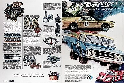 1969 FORD 8 Page Performance GUIDE ~ TORINO COBRA MUSTANG MACH 1 XL GT 40