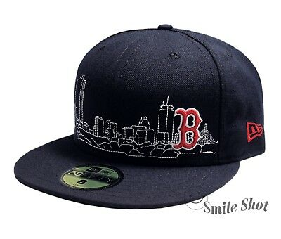 New Era 59Fifty MLB Boston Red Sox Fitted Cap Skyline Navy Size 8 NWT