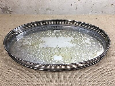 Vintage Silver Plated Ornate Oval Gallery Serving Drinks Cocktail Tray