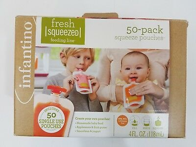 Squeeze Pouches Infantino 30 Count Fresh New Baby Food Station Feeding Puree New