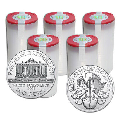 100 Silver 2019 Austria Philharmonic 1 Troy Oz .999 Coins in 5 Mint Rolls
