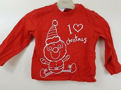 3aad0af8 Tesco Baby Boy Red I Love Father Christmas Long Sleeved Top T-shirt 12-