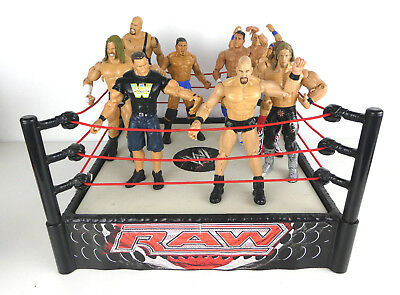 WWE WWF RAW Wrestling Ring With Spring Base & 9 Figure Bundle Mattel Jakks Titan