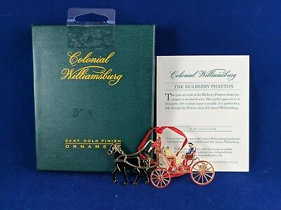 2004 Colonial Williamsburg MULBERRY PHAETON Carriage 24k Gold Finished Ornament