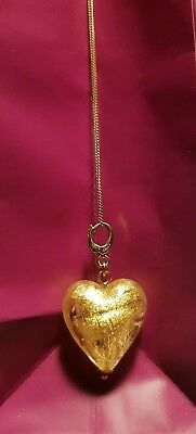 9k gold ladies large heart pendant glass necklace curb chain charm murano yellow