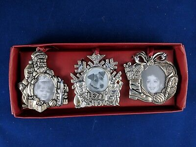 Christmas Silverplate Frame Ornaments Gorham Silver Santa Snowflake & Stocking