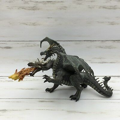 2005 Papo Two Headed Green Dragon Fire Breathing Winged Fantasy Figure