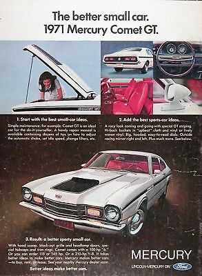 1971 MERCURY COMET GT Genuine Vintage Advertisement ~ 210 HP V-8!