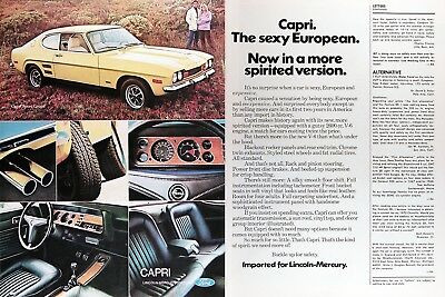 1972 MERCURY CAPRI SPORT COUPE Genuine Vintage Advertisement ~ 2.6L V6