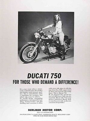 1974 DUCATI 750cc Authentic Vintage Ad ~ Berliner Motor Group