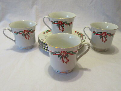 Poinsettia & Ribbons Fine China Cup and Saucer - Set of 4