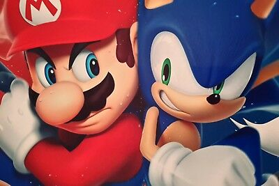 Super Mario Sonic The Hedgehog Characters A4 Poster Picture Print A4 Wall Art