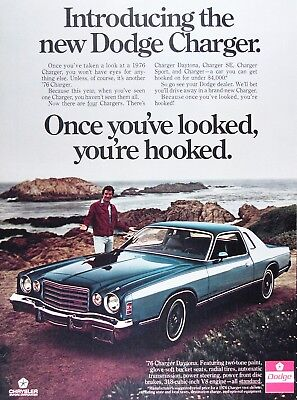 1976 DODGE CHARGER DAYTONA Genuine Vintage Ad ~ With Young TOM SELLECK