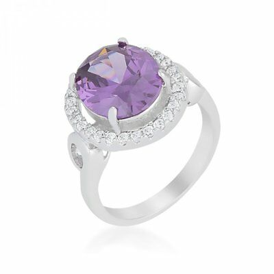 Nice Amethyst Halo Cocktail Ring (size: 10)