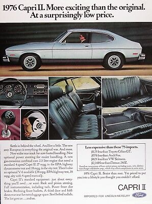 1976 MERCURY CAPRI II Original Vintage Ad ~ 2.3 Litre V6 Optional