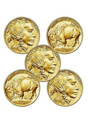Lot of 5 Gold 2019 American buffalo 1 Troy oz Bullion $50 US Mint Coins