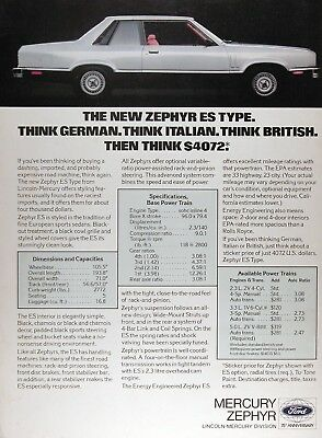 1978 MERCURY ZEPHYR ES Original Vintage Advertisement ~ Think $4,072