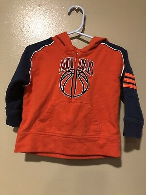 Boys Adidas Half Zip Hoody Orange Blue Basketball 18 Months