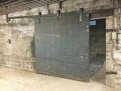 Two Antique Metal-Clad Fire Doors Marked Dusing & Hunt, Buffalo NY 1940's