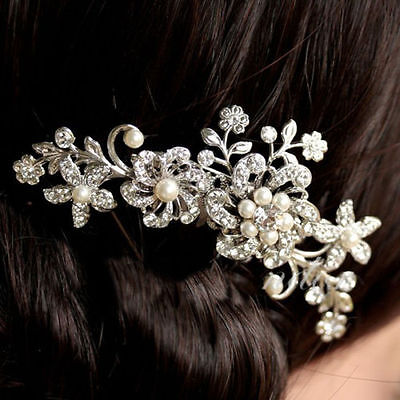 Wedding hair Accessories Silver Hair Comb Pearls Clip Pin Bridal Bride 1