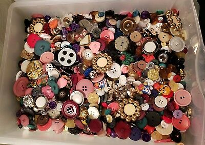 Lot of  Mixed Buttons for Sewing, Crafts and Scrapbooking Vintage and New