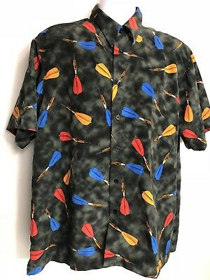 Men's Size Large Black Darts/ Dart Board Graphic SS Button Down Shirts (33)
