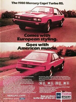 1980 MERCURY CAPRI RS TURBO Genuine Vintage Advertisement ~ American Muscle