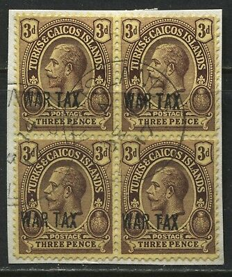 Turks & Caicos KGV 1917 3d War Tax stamp used block of 4 on piece