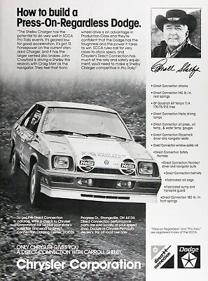 1983 DODGE SHELBY CHARGER Original Vintage Ad ~ SCAA PRO RALLY