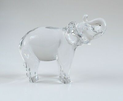 Baccarat Elephant with Raised Trunk Glass Crystal Figurine Paperweight (SIGNED)