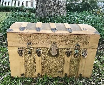 Antique•Circa Late 1800's•Wood Dome Top Travel Trunk•Chest•Child Toy Box•Vintage