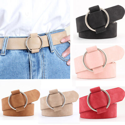 New Women Lady Vintage Metal Boho Leather Round Buckle Waist Belt Waistband UP