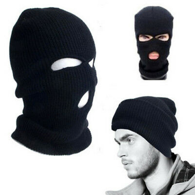 3Hole Ski Mask Balaclava Black Knit Hat Face Shield Beanie Snow Cap Winter Warm