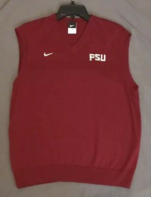 85f9903447e5a Vintage Nike Mens Medium FSU Color Block Spell Out Sweater Vest Garnett 90s
