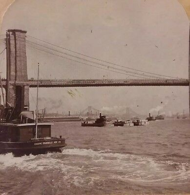 Vintage 20th Century 1903 STEREOVIEW Photo of East River Bridge New York & Boats