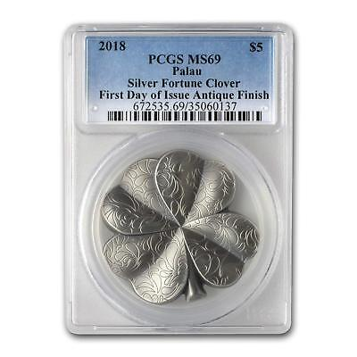 2018 $5 Palau Silver Fortune Clover Antique 1oz .999 Silver Coin PCGS MS69 FD