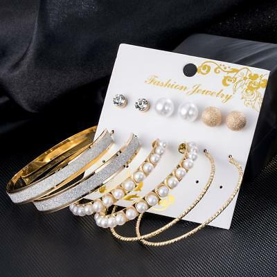 2019 New 6 Pairs/set Vintage Silver/Gold Big Round Circle Hoop Dangle Earrings