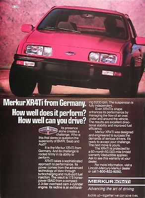 1987 MERKUR XR4Ti Genuine Vintage Advertisement ~ 2.3L OHC 4 Cylinder