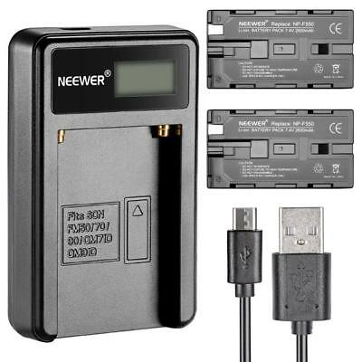 Neewer Micro USB Chargeur de Batterie + 2-Pack 2600mAh NP-F550 / 570/530...