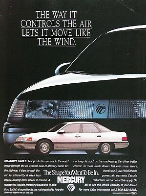 1988 MERCURY SABLE SEDAN Genuine Vintage Advertisement ~ The Shape You Want