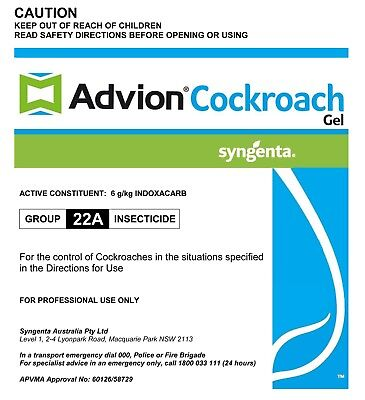4 X 30g Genuine Syngenta Advion Cockroach German Roach Control Gel bait