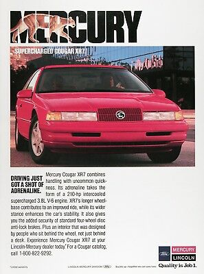 1989 MERCURY COUGAR XR7 Lot of (2) Original Vintage Ads