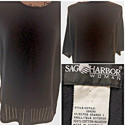 "a90d36389d Women s Sag Harbor Short Sleeve 1X Sweater Black 46"" Bust 26"" Long. SKU"
