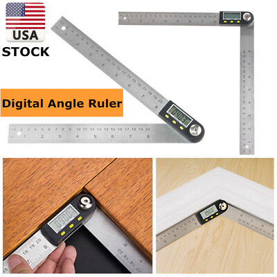 US Digital 2 in 1 Angle Finder Goniometer 200mm Protractor Measuring Gauge Ruler