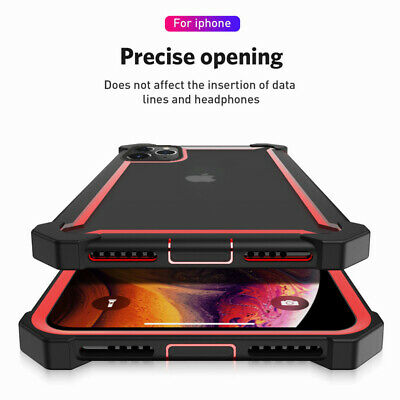 For iPhone 11 Pro XS Max XR X 8 7 Shockproof Armor Clear Case Hybrid Hard Cover