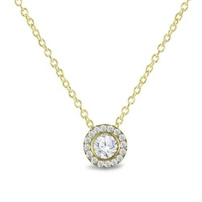 14K Yellow Gold Over 925 Sterling Silver Round Diamond Halo Pendant Necklace 18""